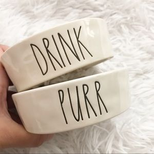 Rae Dunn Drink & Purr Cat Water and Food Bowl